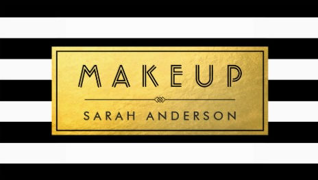 Modern Makeup Gold Label and Black White Stripes Business Cards