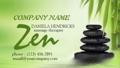 Tranquil Zen Spa Massage Therapist Green Bamboo Design Business Cards