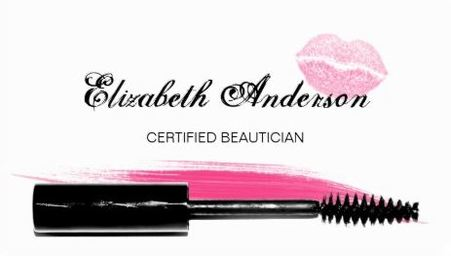 Trendy Pink and Black Certified Beautician Mascara Brush Business Cards