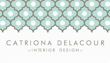 Elegant Mint Green Moroccan Quatrefoil Pattern Interior Design Business Cards