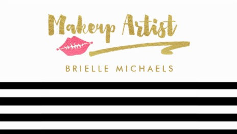 Makeup Artist Black White Stripes With Pink Lips Business Cards