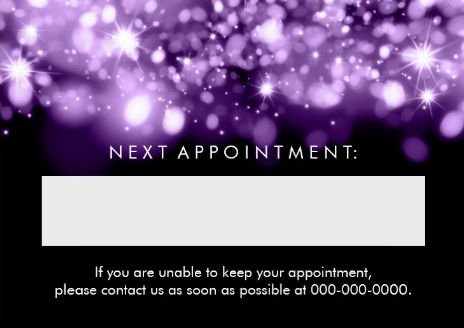 Elegant Appointment Card Purple Sparkling Lights Large Business Cards