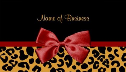 Trendy Black And Gold Leopard Print Elegant Red Ribbon Business Cards