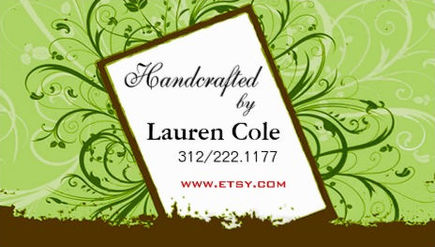 Stylish Green Floral Filigree Swirls Artisan Handcrafting Business Cards