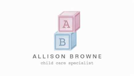 Sweet Pink and Blue Baby Blocks  Monogram Child Care Business Cards