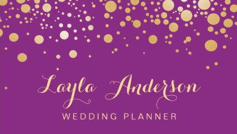 Glamour Gold Dots on Violet Purple Stylish Wedding Planner Business Cards
