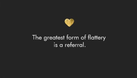 Cute Black and Gold Heart Flattery Referral Card Business Cards