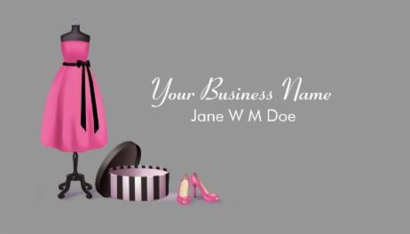 Cute Pink and Black Couture Fashion Boutique Business Cards