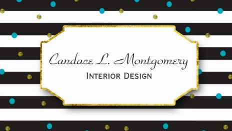 Fun Turquoise and Gold Dots On Black Stripes Interior Design Business Cards