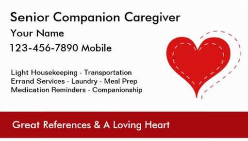 Simple Red Heart of Love Senior Companion Caregiver Business Cards