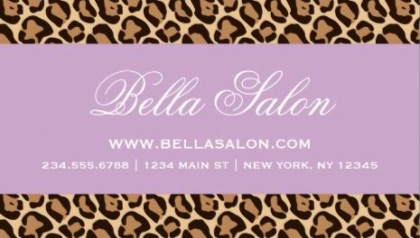 Light Lavender Purple Stripe and Girly Brown Leopard Print Business Cards