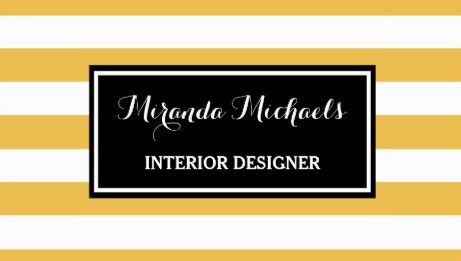 Trendy Horizontal Stripes Yellow and Black Interior Designer Business Cards