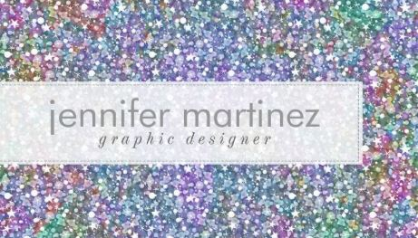Elegant Colorful Purple Rainbow Colored Glitter and Sparkles Business Cards