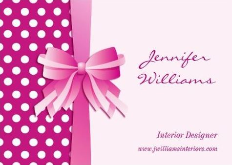 Pretty Fuchsia Pink Polka Dots and Bow Interior Designer Business Cards