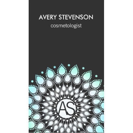 Cosmetologist Ornate Leaf Motif Black Modern Business Cards