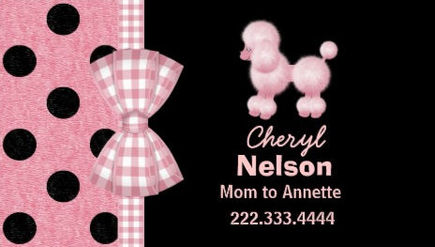 Chic Pink Poodle With Gingham Bow Mommy Calling Card Business Cards