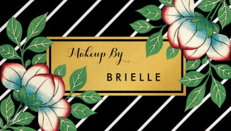 Diagonal Stripes Vintage Floral Gold Makeup Artist Business Cards