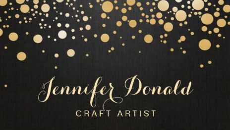 Glamour Gold Dots on Black Decor Stylish Craft Artist Business Cards