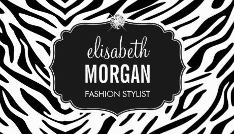 Trendy Black and White Zebra Print Shiny Diamond Fashion Stylist Business Cards