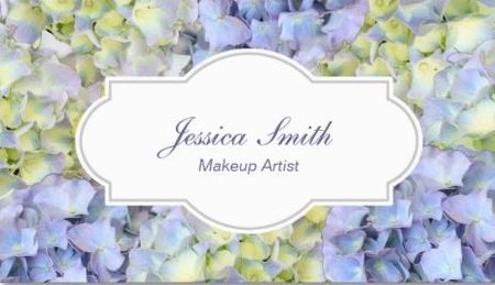 Pretty Hydrangea Flowers Classy Makeup Artist Business Cards