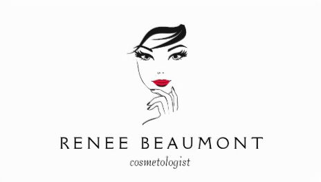 Woman's Face with Red Lips Elegant White Cosmetologist Business Cards