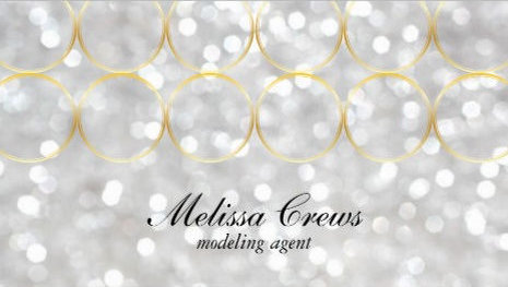 Glamorous Silver Bokeh and Gold Rings Modeling Agent Business Cards