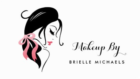Makeup Artist Woman With Eyelashes and Pink Bow Business Cards