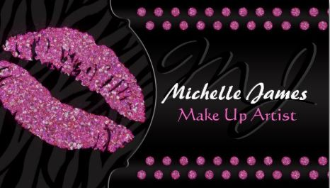 Modern Sparkling Zebra Monogram Make Up Artist Business Cards