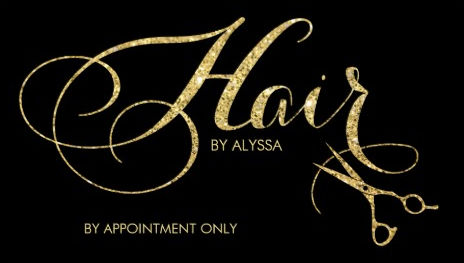 elegant black and gold glitter script and scissors hair stylist business cards - Stylist Business Cards
