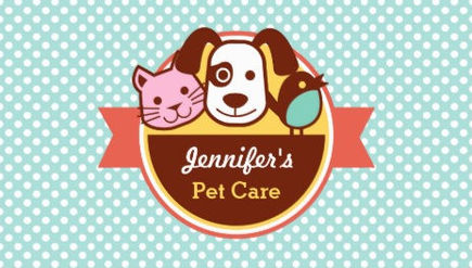 Girly pet sitting and pet care business cards girly business cards cute aqua polka dots with cute little animals logo pet card business cards colourmoves