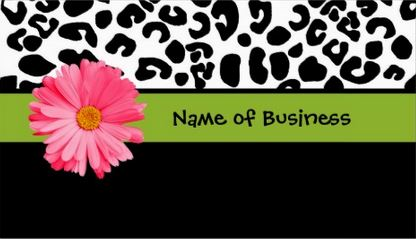 Trendy Black And White Leopard Print Girly Pink Daisy Flower Business Cards