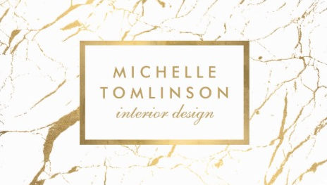 Modern Elegance White And Gold Marble Interior Designer Business Cards