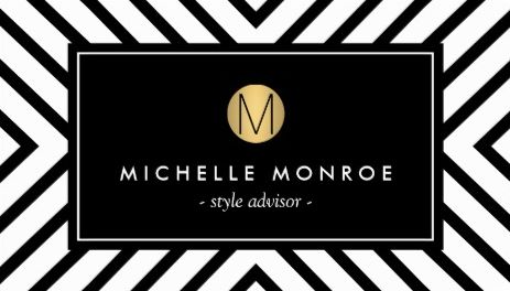 Retro Mod Black and White Pattern Gold Monogram Style Adviser Business Cards