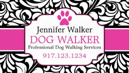Girly pet sitting and pet care business cards girly business cards chic pink and black with damask professional dog walker business cards colourmoves