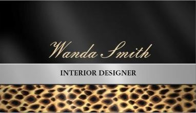 Modern Contemporary Chic Leopard Print Brushed Silver Stripe Business Cards