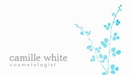 Simple White Light Turquoise Branch Salon and Spa Business Cards