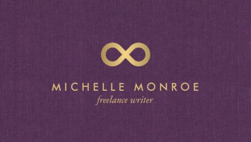 Chic Faux Gold Infinity Symbol on Purple Linen Freelance Writer Business Cards
