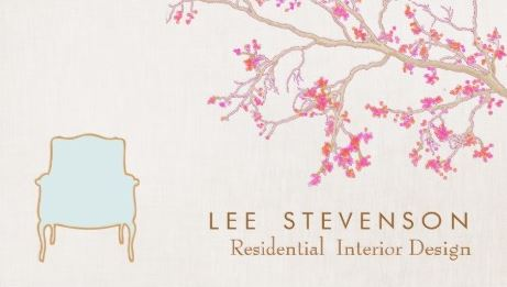 Interior Design Cherry Blossom French Chair Staging Decorator Business Cards