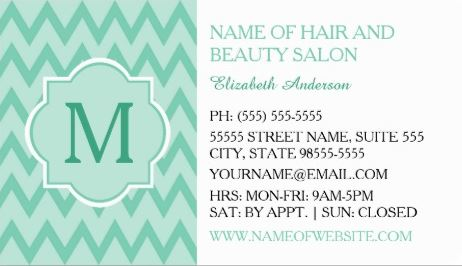 Trendy Mint Chevron Zigzag Monogram Hair Boutique Business Cards