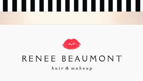 Stylish Red Kissing Lips Black and White Striped Makeup Artist Business Cards