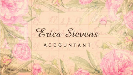 Vintage Bookkeeping Ledger Pink Floral Accountant Business Cards