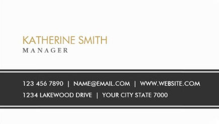 Elegant Professional Plain Stripe Simple Black and White Business Cards