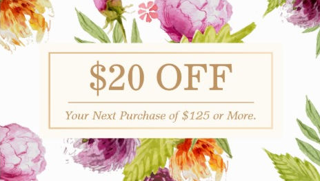 Beauty Salon and Spa Floral Art Deco Discount Coupon Business Cards