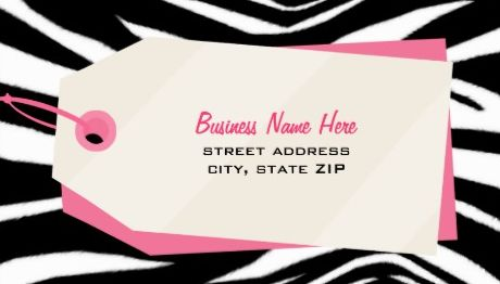 Pink and Black Zebra Print and Shopping Tag Retail Boutique Business Cards