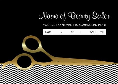 Black Gold Chevrons Salon Appointment Reminder Business Cards