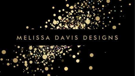 Glamorous Faux Gold Confetti On Elegant Modern Black Business Cards
