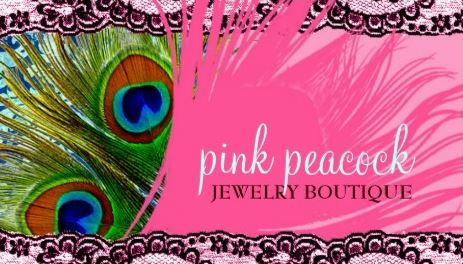 Girly Pink Lace Peacock Feather Jewelry Boutique Business Cards