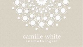 Cosmetology Sophisticated White Circle Beige Texture Look Business Cards