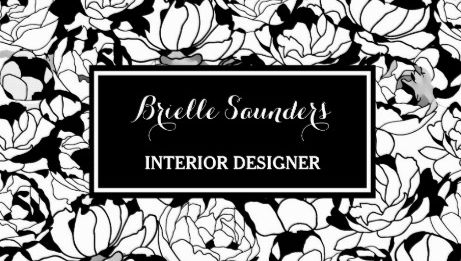 Modern Chic Black and White Floral Girly Interior Designer Business Cards