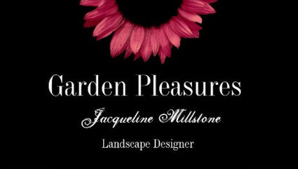 Modern Black and Red Sunflower Landscape Designer Business Cards